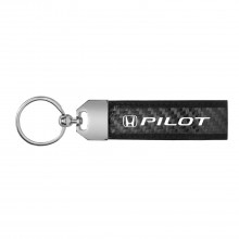 Honda Pilot Real Carbon Fiber Leather Key Chain with Black Stitching