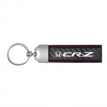 Honda CR-Z Real Carbon Fiber Leather Key Chain with Red Stitching