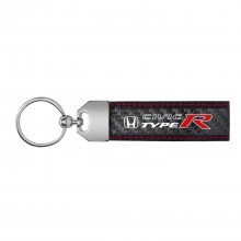 Honda Civic Type R Real Carbon Fiber Leather Key Chain with Red Stitching