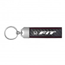 Honda Fit Real Carbon Fiber Leather Key Chain with Red Stitching