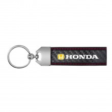 Honda Logo in Yellow Real Carbon Fiber Leather Key Chain with Red Stitching