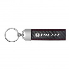 Honda Pilot Real Carbon Fiber Leather Key Chain with Red Stitching