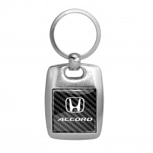 Honda Accord on Carbon Fiber Backing Brush Metal Key Chain