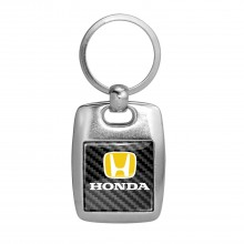 Honda Logo in Yellow on Carbon Fiber Backing Brush Metal Key Chain