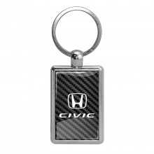 Honda Civic on Carbon Fiber Backing Brush Metal Key Chain