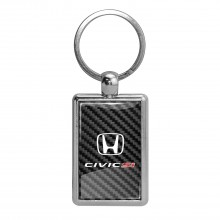 Honda Civic Si on Carbon Fiber Backing Brush Metal Key Chain