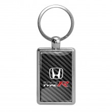 Honda Civic Type R on Carbon Fiber Backing Brush Metal Key Chain