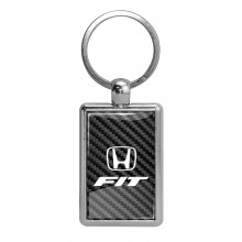 Honda Fit on Carbon Fiber Backing Brush Metal Key Chain