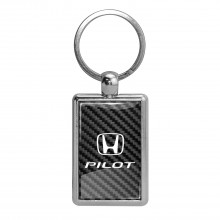 Honda Pilot on Carbon Fiber Backing Brush Metal Key Chain