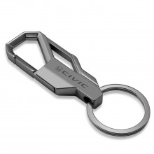 Honda Civic Gunmetal Gray Snap Hook Metal Key Chain