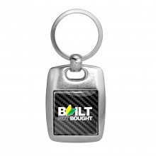 JDM Built-Not-Bought Black Carbon Fiber Backing Brush Metal Key Chain
