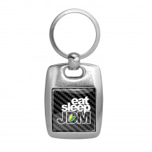 JDM Eat-Sleep-JDM Black Carbon Fiber Backing Brush Metal Key Chain