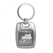JDM Eat-Sleep-JDM Silver Carbon Fiber Backing Brush Metal Key Chain