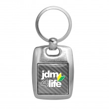 JDM JDM-for-Life Silver Carbon Fiber Backing Brush Metal Key Chain