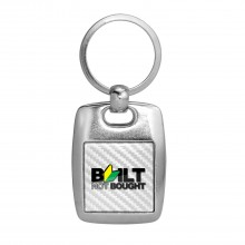 JDM Built-Not-Bought White Carbon Fiber Backing Brush Metal Key Chain