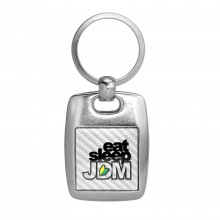 JDM Eat-Sleep-JDM White Carbon Fiber Backing Brush Metal Key Chain