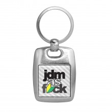 JDM JDM-as-Fck White Carbon Fiber Backing Brush Metal Key Chain