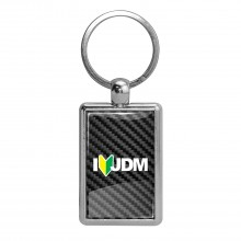 JDM I-Love-JDM Black Carbon Fiber Backing Brush Rectangle Metal Key Chain