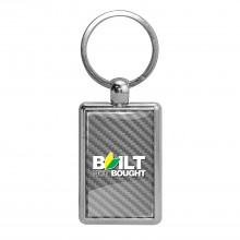 JDM Built-Not-Bought Silver Carbon Fiber Backing Brush Rectangle Metal Key Chain