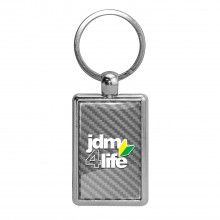 JDM JDM-for-Life Silver Carbon Fiber Backing Brush Rectangle Metal Key Chain