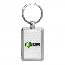 JDM I-Love-JDM White Carbon Fiber Backing Brush Rectangle Metal Key Chain