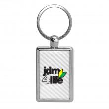 JDM JDM-for-Life White Carbon Fiber Backing Brush Rectangle Metal Key Chain