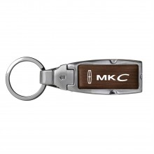 Lincoln MKC Brown Leather Detachable Ring Black Metal Key Chain