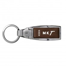 Lincoln MKT Brown Leather Detachable Ring Black Metal Key Chain