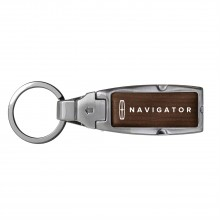 Lincoln Navigator Brown Leather Detachable Ring Black Metal Key Chain