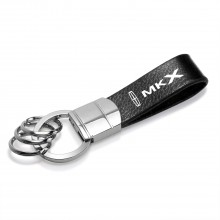 Lincoln MKX Black Leather Stripe Round Hook Metal Key Chain