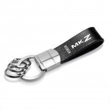 Lincoln MKZ Black Leather Stripe Round Hook Metal Key Chain