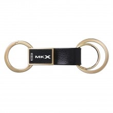 Lincoln MKX Round Hook Leather Strip Double Ring Golden Metal Key Chain