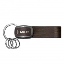 Lincoln MKC Black Nickel with Brown Leather Stripe Key Chain