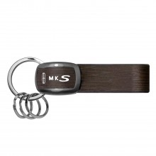 Lincoln MKS Black Nickel with Brown Leather Stripe Key Chain