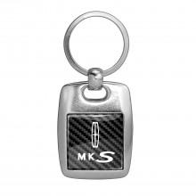 Lincoln MKS Carbon Fiber Backing Brush Metal Key Chain