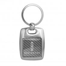Lincoln Navigator Silver Carbon Fiber Backing Brush Metal Key Chain