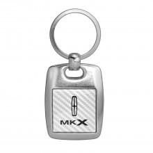 Lincoln MKX White Carbon Fiber Backing Brush Metal Key Chain