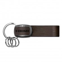 HEMI Logo Black Nickel with Brown Leather Stripe Key Chain