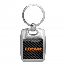 HEMI Logo Carbon Fiber Backing Brush Metal Key Chain