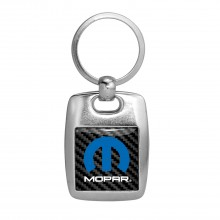 Mopar Logo Carbon Fiber Backing Brush Metal Key Chain