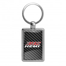 HEMI 392 HP Carbon Fiber Backing Brush Rectangle Metal Key Chain