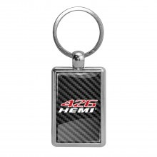 HEMI 426 HP Carbon Fiber Backing Brush Rectangle Metal Key Chain