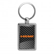HEMI Logo Carbon Fiber Backing Brush Rectangle Metal Key Chain