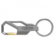 HEMI 5.7 Liter Gunmetal Gray Snap Hook Metal Key Chain