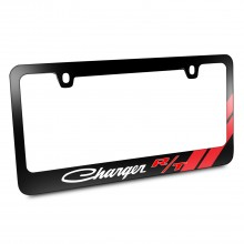 Dodge Charger R/T Classic Red Stripe Black Metal License Plate Frame