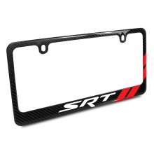 Dodge SRT Red Stripe Real Black Carbon Fiber License Plate Frame