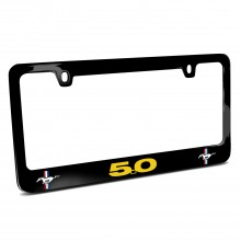 Ford Mustang GT 5.0 in Yellow Dual Logos Black Metal License Plate Frame