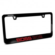 Ford Mustang Boss 302 in Red Black Metal License Plate Frame