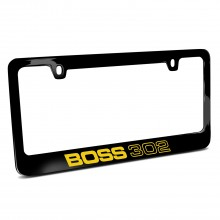 Ford Mustang Boss 302 in Yellow Black Metal License Plate Frame