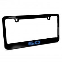 Ford Mustang 5.0 in Blue Black Metal License Plate Frame